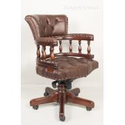 12027 BROWN Кабинетное кресло, обивка - натуральная коричневая кожа 60x62x88
