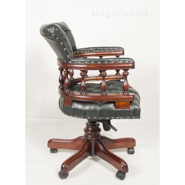 12027 GREEN Кабинетное кресло, обивка - натуральная зеленая кожа