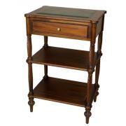 15351 BROWN Кабинетная тумба, этажерка, отделка столешницы натуральной кожей (коричневый цвет)  55x40x85