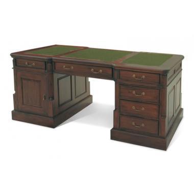 OD04 GREEN Кабинетный стол, письменный стол зеленая кожа 180x90x80