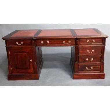 12263 BROWN Кабинетный стол, темно-коричневая кожа